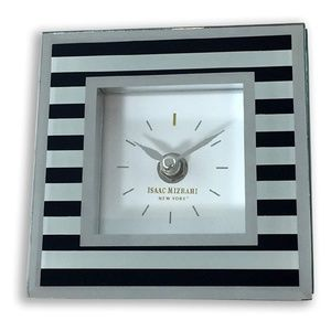 Mirrored Clock with Black Stripes
